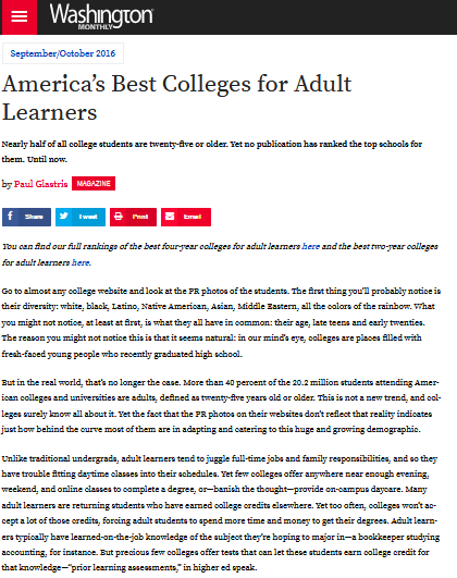 America's best colleges for adult learners