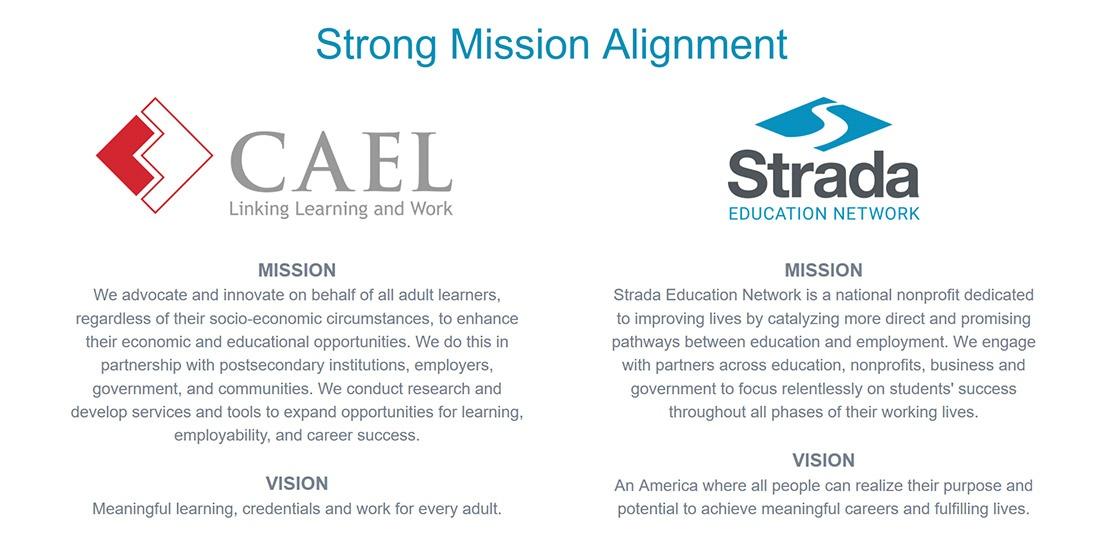 CAEL and STRADA strong mission alignment